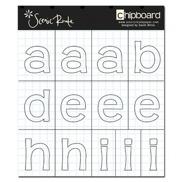 Scenic Route Paper - Appleton Collection - Alphabet Chipboard - Redmond Stencil White Grid - School, CLEARANCE