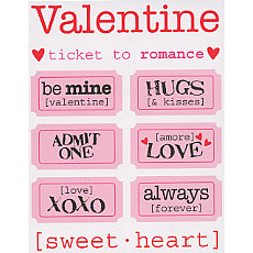 S.R.M. Press, Inc. - Stickers - Just The Ticket - Valentine, CLEARANCE