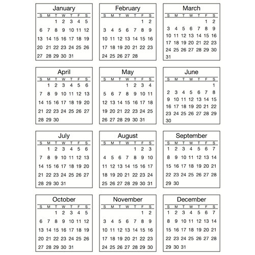 SRM Press Inc. - Stickers - Mini Calendar - Standard - 2013