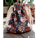 SRM Press - Floral Fabric Bags - Grey and Orange