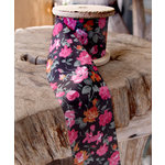 SRM Press - Floral Ribbon - Black and Pink