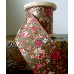 SRM Press - Floral Ribbon - Light Brown and Red