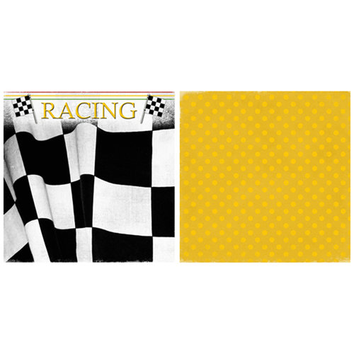 Scrappin Sports and More - Game Day Collection - 12 x 12 Double Sided Paper - Racing