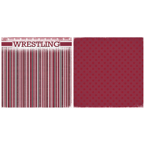 Scrappin Sports and More - Game Day Collection - 12 x 12 Double Sided Paper - Wrestling