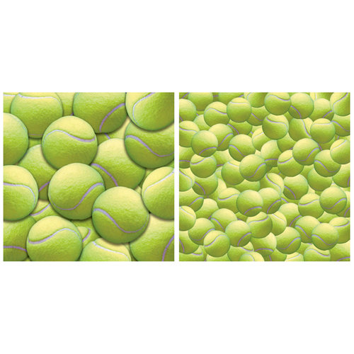 Scrappin Sports and More - Name of the Game Collection - 12 x 12 Double Sided Paper - Tennis Balls
