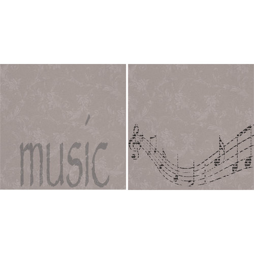 Scrappin Sports and More - Sporty Words Collection - 12 x 12 Double Sided Paper - Music