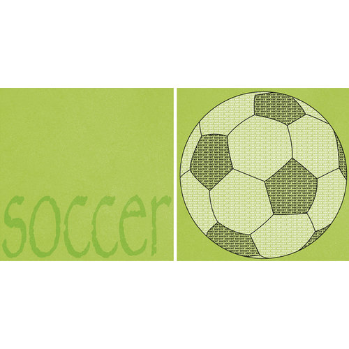 Scrappin Sports and More - Sporty Words Collection - 12 x 12 Double Sided Paper - Soccer
