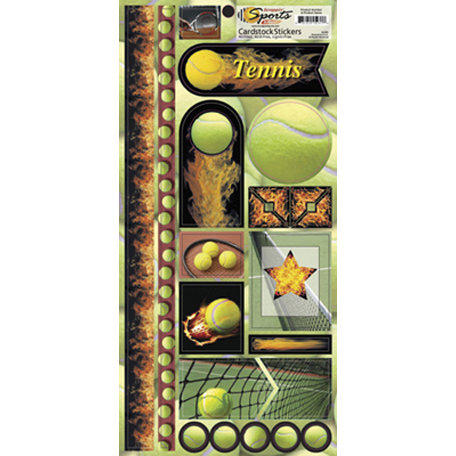 Scrappin Sports and More - Sports on Fire Collection - Cardstock Stickers - Tennis Balls