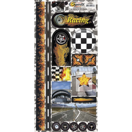 Scrappin Sports and More - Sports on Fire Collection - Cardstock Stickers - Racing Flags