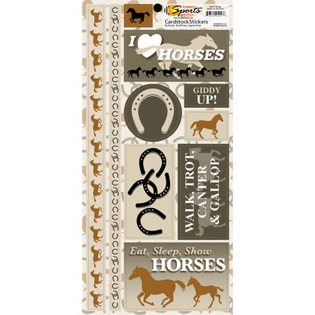 Scrappin Sports and More - Down on the Farm Collection - Cardstock Stickers - Horses