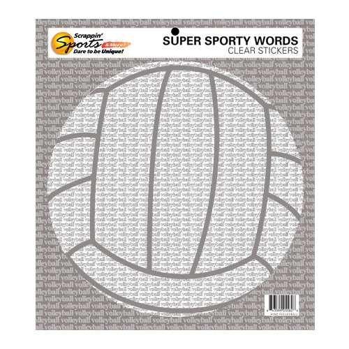 Scrappin Sports and More - Sporty Words Collection - Clear Stickers - Volleyball