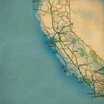 SugarTree - 12 x 12 Paper - California Map