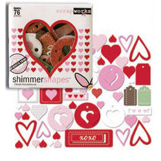 Scrapworks - Shimmer Shapes - Chipboard Shapes - Heart Assortment, CLEARANCE