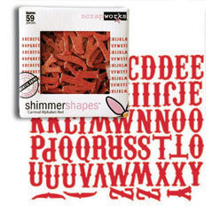 Scrapworks - Valentine's Day Collection - Shimmer Shapes - Carnival Alphabet - Red, CLEARANCE