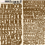 Scrapworks - Flea Market Collection - Alphabet Cardstock Stickers - Brown