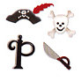 Sizzix - Sizzlits Die - Die Cutting Template - 4 Pack - Small - Pirate Set