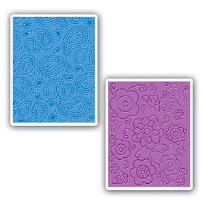 Sizzix - Textured Impressions - Embossing Folders - Spring Flowers and Paisley Set