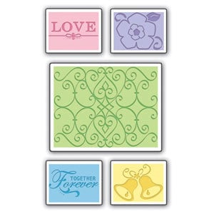 Sizzix - Textured Impressions - Embossing Folders - Wedding Set 2