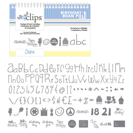 Sizzix - EClips - Electronic Shape Cutting System - Cartridge - Birthday and Bean Pole Alphabets
