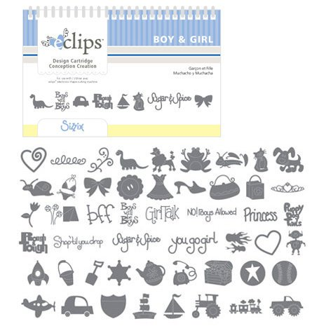 Sizzix - EClips - Electronic Shape Cutting System - Cartridge - Boy and Girl