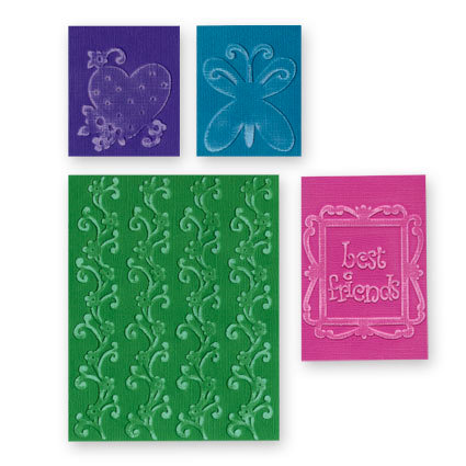 Sizzix - Textured Impressions - Embossing Folders - Best Friends Set, CLEARANCE