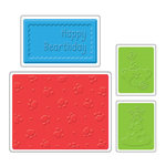 Sizzix - Textured Impressions - Build-A-Bear Workshop Collection - Embossing Folders - Happy Bearthday Set