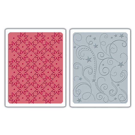 Sizzix - Textured Impressions - Embossing Folders - Flowers, Stars and Swirls Set