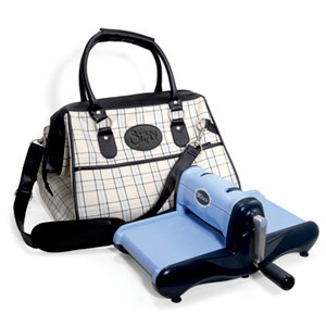 Sizzix - Accessory - Doctor's Bag - Medium - Black Cream and Periwinkle Plaid