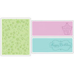 Sizzix - Textured Impressions - Embossing Folders - Birthday Set 3, CLEARANCE