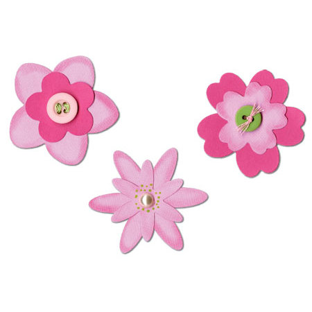 Sizzix - Celebrations Collection - Sizzlits Die - Medium - 3 Pack - Flower Layers Set Number 3