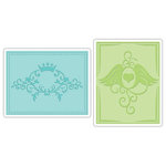 Sizzix - Textured Impressions - Embossing Folders - Crown Flourish and Heart Wings Set, CLEARANCE