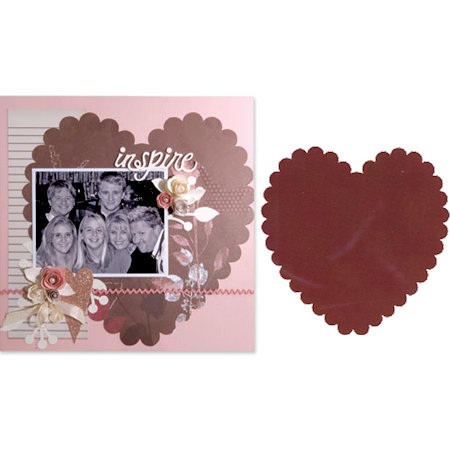Sizzix - Bigz Pro Die - Backgrounds - Heart, Scallop