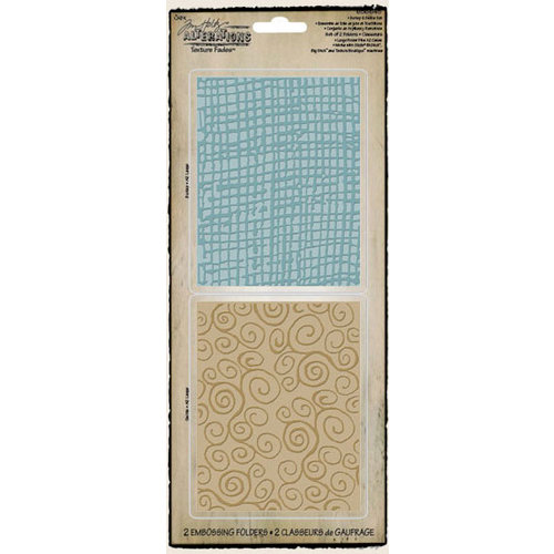 Sizzix - Tim Holtz - Texture Fades - Alterations Collection - Embossing Folders - Burlap and Swirls Set