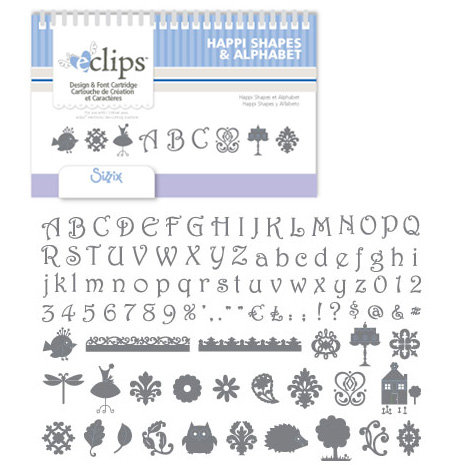 Sizzix - EClips - Electronic Shape Cutting System - Cartridge - Happi Shapes and Alphabet