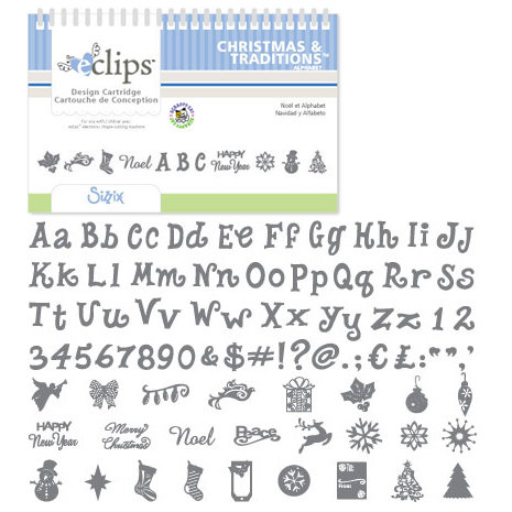 Sizzix - EClips - Electronic Shape Cutting System - Cartridge - Christmas and Traditions Alphabet