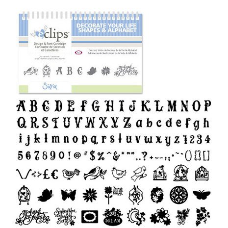 Sizzix - EClips - Electronic Shape Cutting System - Cartridge - Decorate Your Life Shapes and Alphabet
