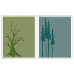 Sizzix - Tim Holtz- Texture Fades - Alterations Collection - Embossing Folders - Branch Tree and Tall Pines