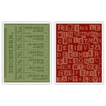 Sizzix - Tim Holtz - Texture Fades - Alterations Collection - Embossing Folders - December Calendar and Holiday Words
