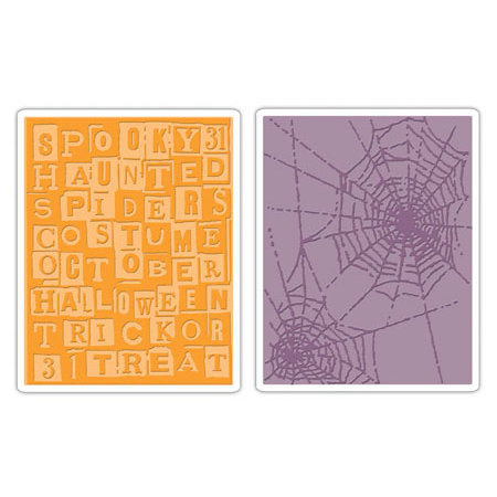 Sizzix - Tim Holtz- Texture Fades - Alterations Collection - Embossing Folders - Halloween Words and Cobwebs