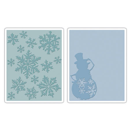 Sizzix - Tim Holtz - Texture Fades - Alterations Collection - Embossing Folders - Snow Flurries and Snowman