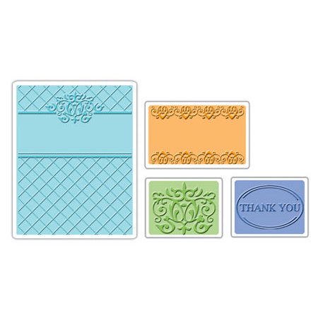 Sizzix - Textured Impressions - Embossing Folders - Thank You Set 5