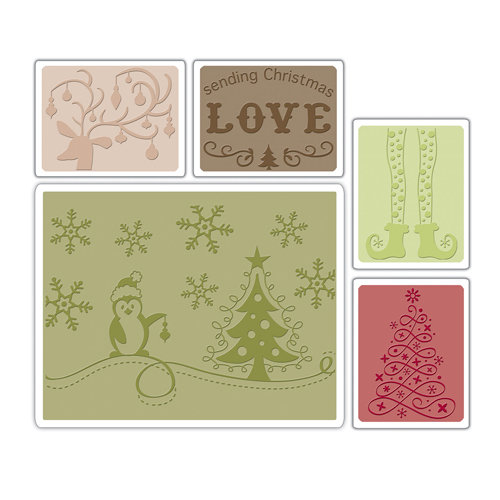 Sizzix - Textured Impressions - Embossing Folders - Sending Christmas Love Set