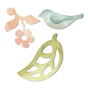 Sizzix - Originals Die - Jewelry - Die Cutting Template - Medium - Bird, Flower and Leaf