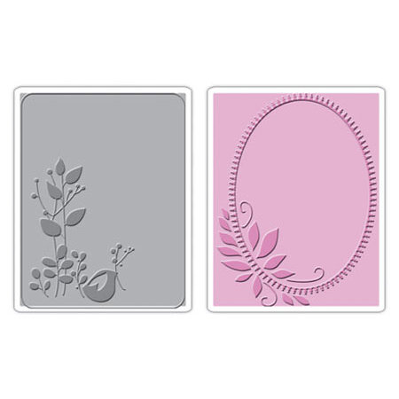 Sizzix - Textured Impressions - Stationery Collection - Embossing Folders - Birds and Wreath Set