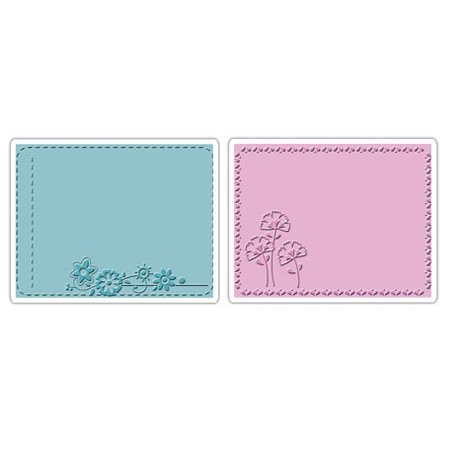 Sizzix - Textured Impressions - Stationery Collection - Embossing Folders - Garden Flowers Set