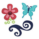 Sizzix - Party Essentials Collection - Sizzlits Die - Medium - Butterfly, Flower and Swirl Set