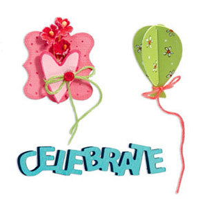 Sizzix - Sizzlits Die - Party Essentials Collection - Die Cutting Template - Medium - Celebrate Set