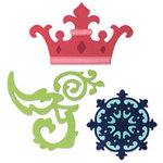 Sizzix - Party Essentials Collection - Sizzlits Die - Medium - Crown, Medallion and Scrolls Set