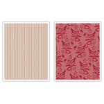 Sizzix - Textured Impressions - Embossing Folders - Botanicals and Beaded Ribbons Set