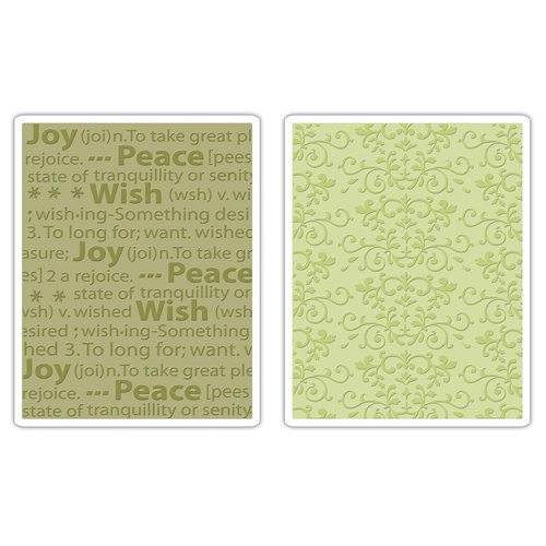 Sizzix - Textured Impressions - Embossing Folders - Ornate Swirls and Winter Words Set